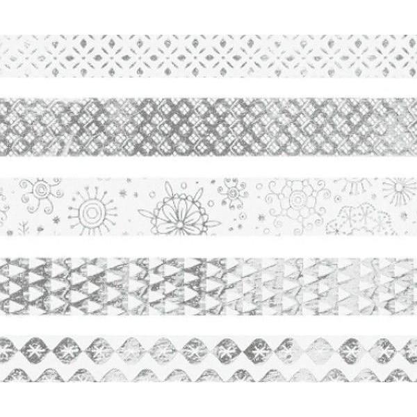 Ensemble De Papier Adhésif Mini Bracelet En Argent Blanc 1.2cmx3m (5pcs), l'Art de Noël, Heyda, de N - Photo n°1