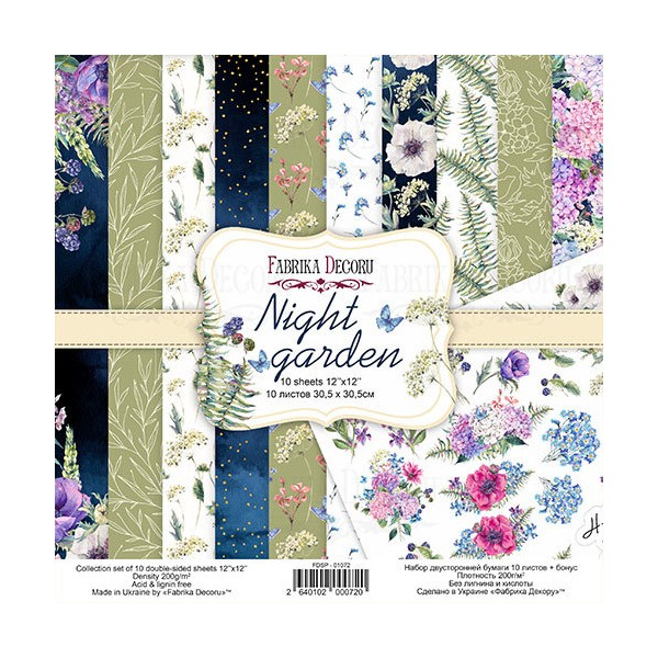 10 papiers 30,5 x 30,5 cm FABRIKA DECORU NIGHT GARDEN - Photo n°1