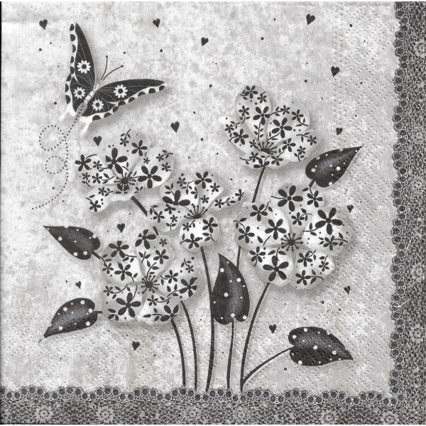 4 Serviettes en papier Fleurs Chic Format Lunch PT-85627 Papstar Decoupage Decopatch - Photo n°2