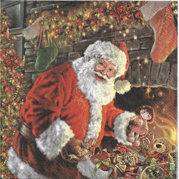4 Serviettes en papier Père Noël Cheminée Format Lunch Decoupage Decopatch SLGW-018701 Pol-Mak - Photo n°2