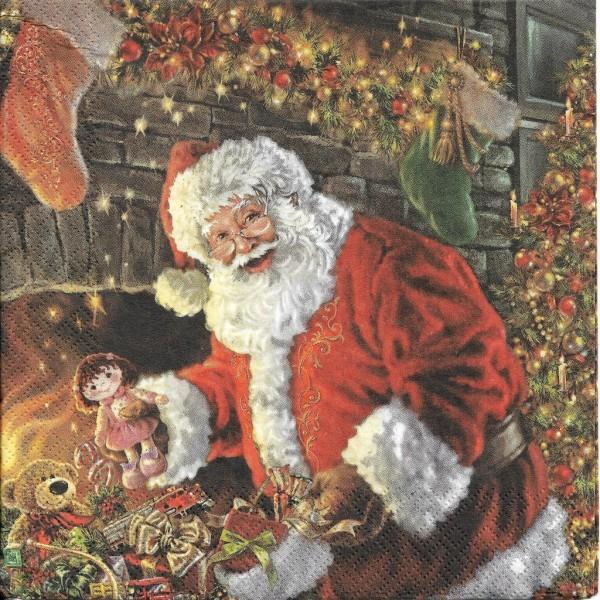 4 Serviettes en papier Père Noël Cheminée Format Lunch Decoupage Decopatch SLGW-018701 Pol-Mak - Photo n°1
