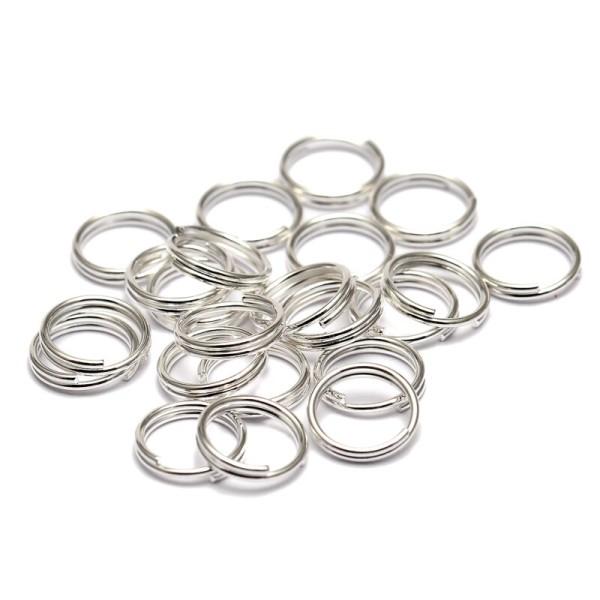 Creation bijoux 100 Anneaux double de jonction argenté brillante 4mm colier