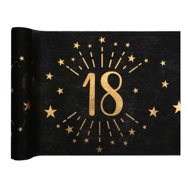 Chemin de table Anniversaire 18 ans noir et or métallisé x 5 mètres - Photo n°1