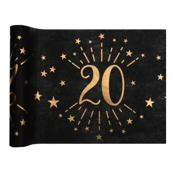 Chemin de table Anniversaire 20 ans noir et or métallisé x 5 mètres - Photo n°1