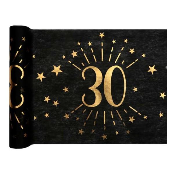 Chemin de table Anniversaire 30 ans noir et or métallisé x 5 mètres - Photo n°1