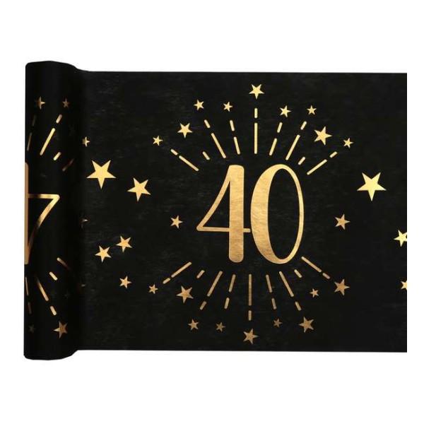 Chemin de table Anniversaire 40 ans noir et or métallisé x 5 mètres - Photo n°1