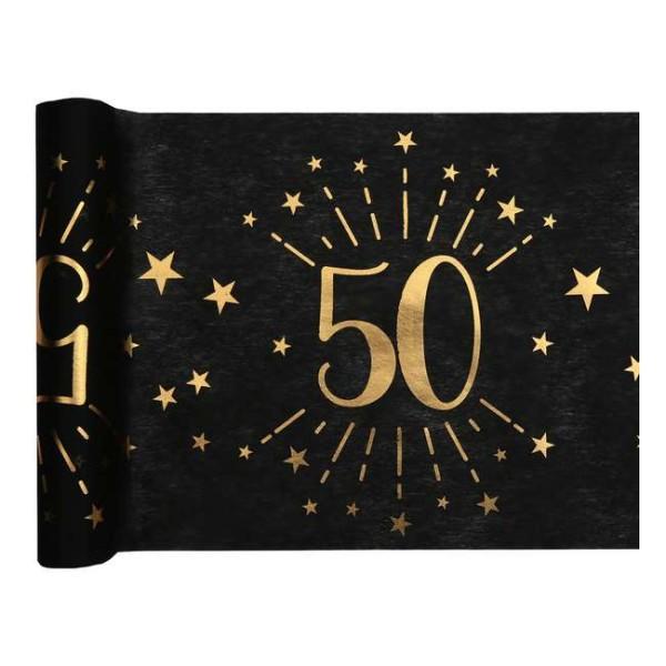 Chemin de table Anniversaire 50 ans noir et or métallisé x 5 mètres - Photo n°1