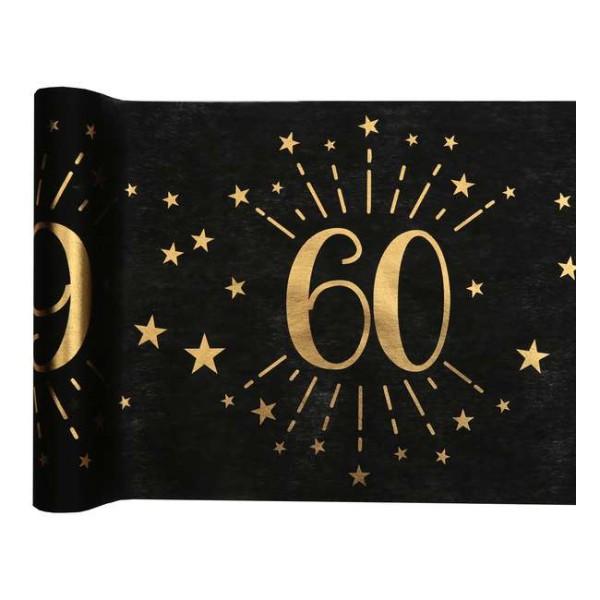 Chemin de table Anniversaire 60 ans noir et or métallisé x 5 mètres - Photo n°1