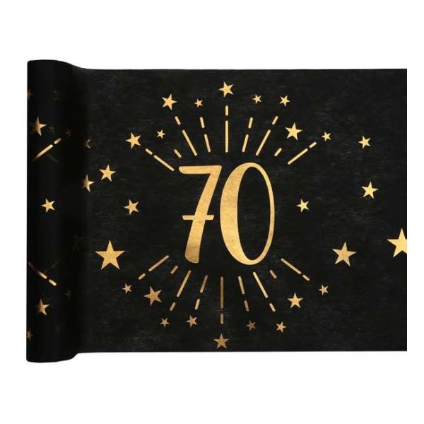 Chemin de table Anniversaire 70 ans noir et or métallisé x 5 mètres - Photo n°1
