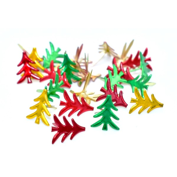 50 Attaches parisiennes sapin de Noël, brads noel scrapbooking, carterie - Photo n°2