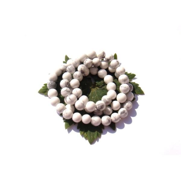 Howlite naturelle  : 10 perles 6 MM de diamètre - Photo n°1