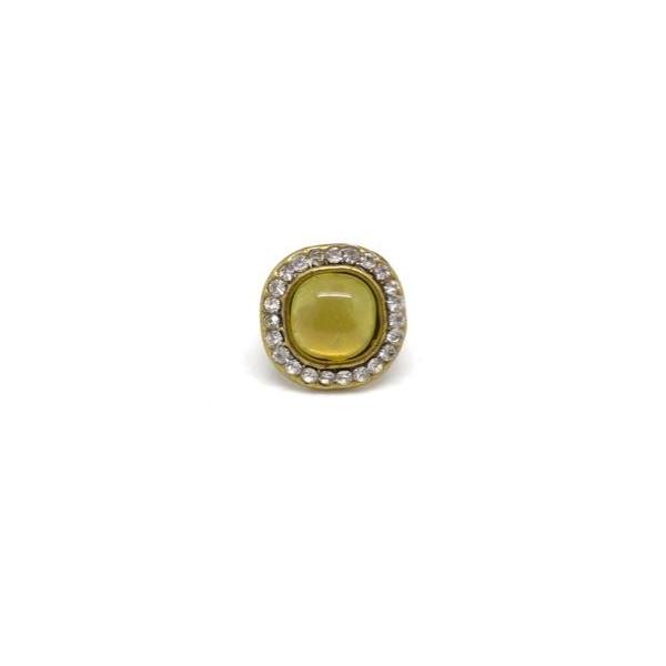 2 Perles Passant Avec Cabochon Jaune Vert Avec Strass Brillant En Métal Argenté Pour 2 Lanières D - Photo n°4