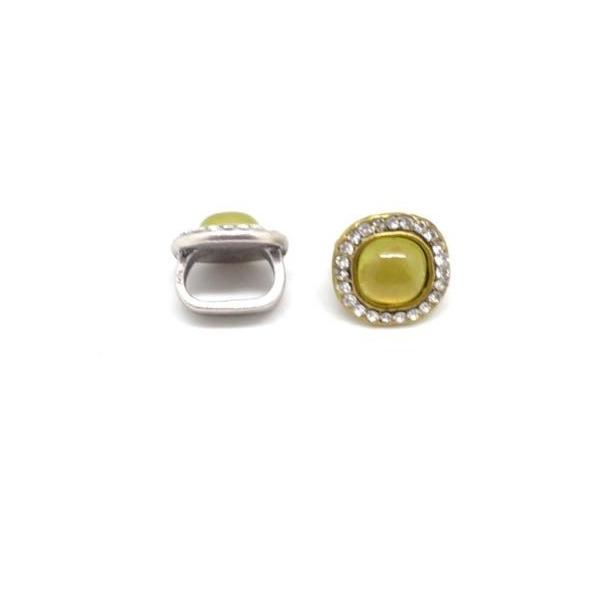 2 Perles Passant Avec Cabochon Jaune Vert Avec Strass Brillant En Métal Argenté Pour 2 Lanières D - Photo n°5