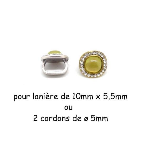 2 Perles Passant Avec Cabochon Jaune Vert Avec Strass Brillant En Métal Argenté Pour 2 Lanières D - Photo n°1