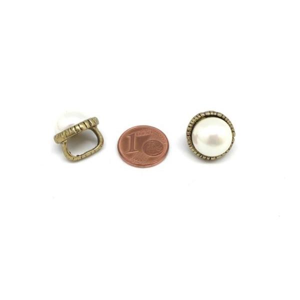 2 Perles Passant Avec Cabochon Rond Blanc Nacré En Métal Couleur Bronze À Gros Trou - Photo n°2