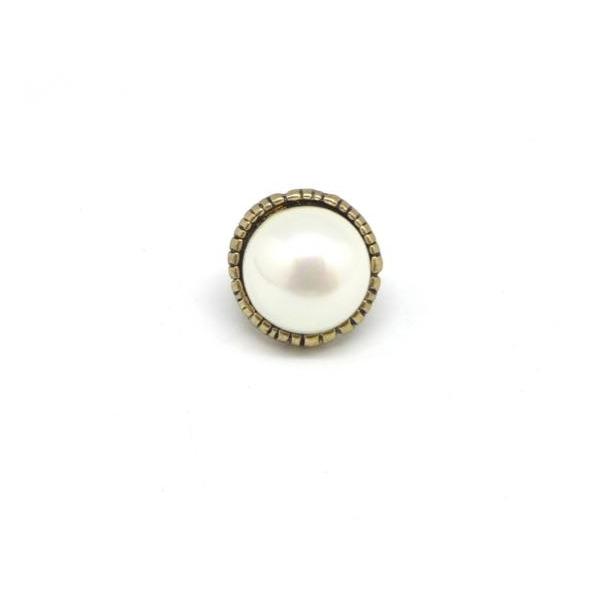 2 Perles Passant Avec Cabochon Rond Blanc Nacré En Métal Couleur Bronze À Gros Trou - Photo n°3