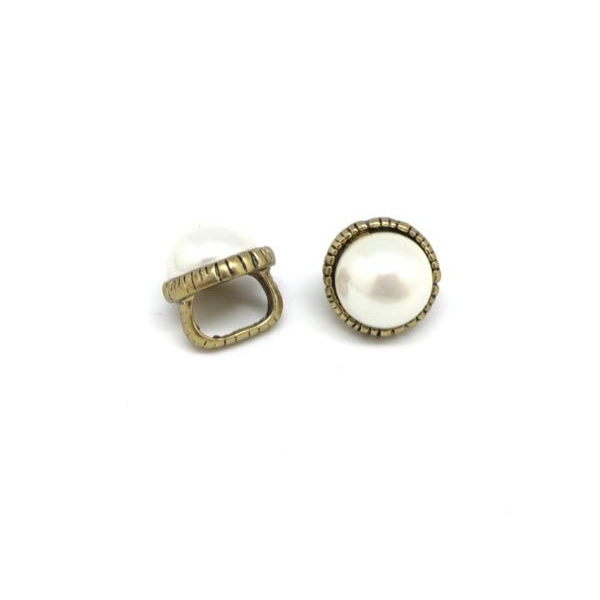 2 Perles Passant Avec Cabochon Rond Blanc Nacré En Métal Couleur Bronze À Gros Trou - Photo n°5