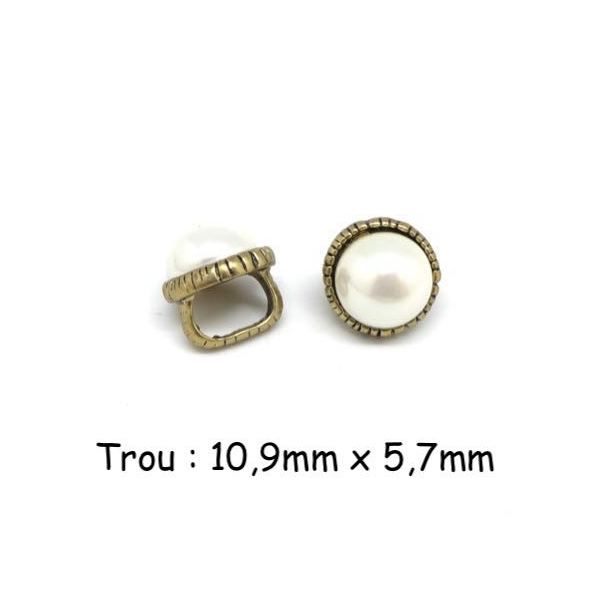 2 Perles Passant Avec Cabochon Rond Blanc Nacré En Métal Couleur Bronze À Gros Trou - Photo n°1