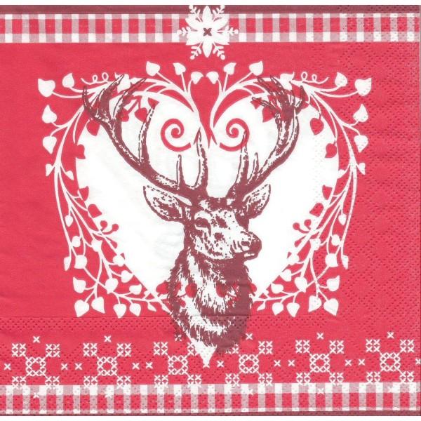 4 Serviettes en papier Tête de Cerf Noël Format Lunch Decoupage Decopatch 2572-7676-20 Stewo - Photo n°1
