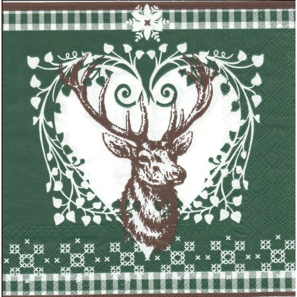 4 Serviettes en papier Tête de Cerf Noël Format Lunch Decoupage Decopatch 2572-7676-45 Stewo - Photo n°1
