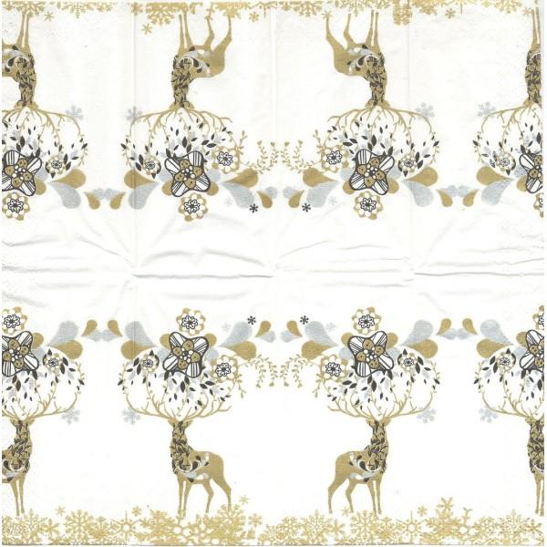 4 Mouchoirs en papier Cerf coeur et givre Noël Decoupage Decopatch PT-482999 IHR - Photo n°1
