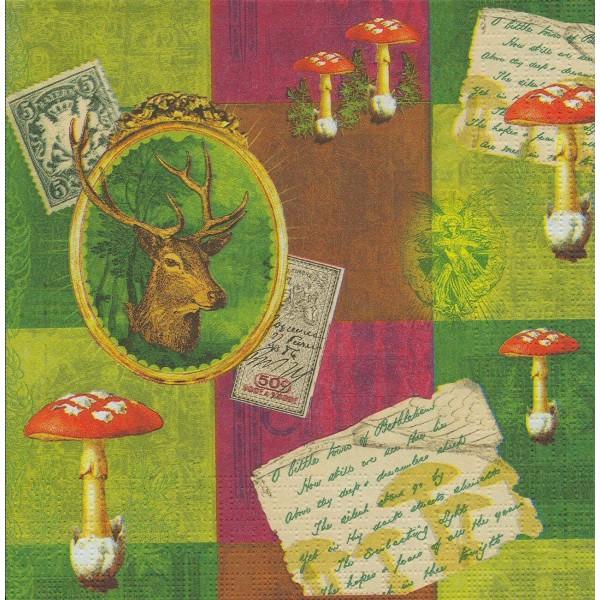 4 Serviettes en papier Cerf & Champignons Format Lunch Decoupage Decopatch 7490 PPD - Photo n°2