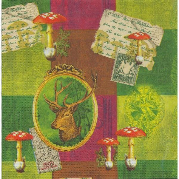 4 Serviettes en papier Cerf & Champignons Format Lunch Decoupage Decopatch 7490 PPD - Photo n°1