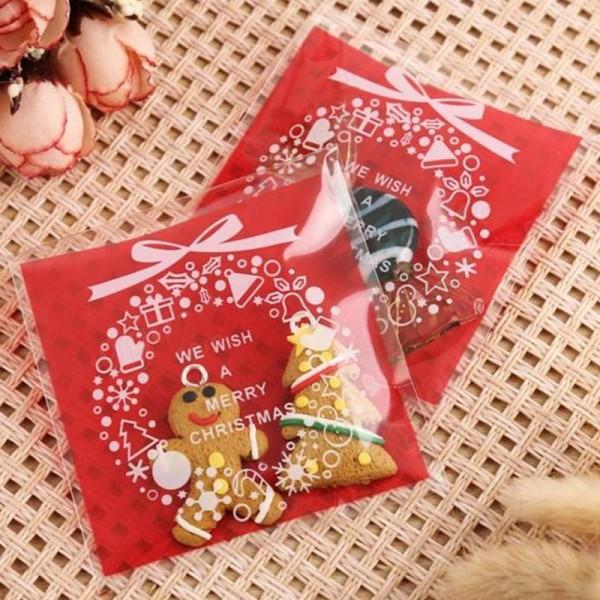 50 Sachets Noel rouge, emballage cadeau couronne de Noël, sachets pour cookies - Photo n°2