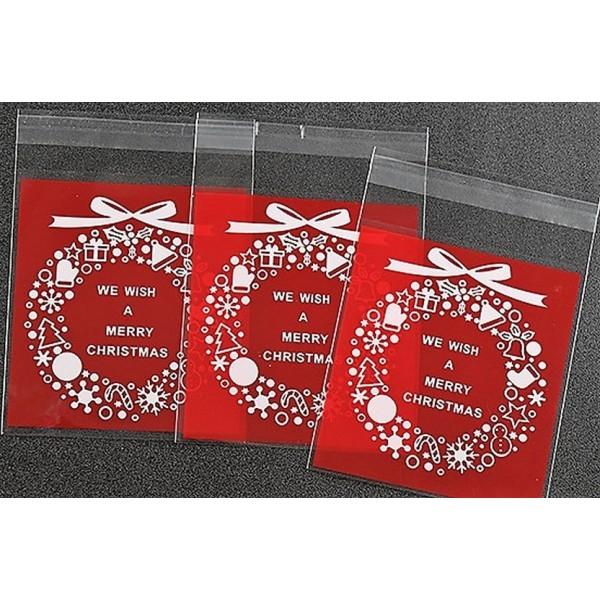 50 Sachets Noel rouge, emballage cadeau couronne de Noël, sachets pour cookies - Photo n°1