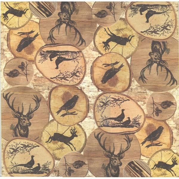 4 Serviettes en papier Animaux de la Forêt sur Bois Format Lunch Decoupage Decopatch L-557700 IHR - Photo n°1