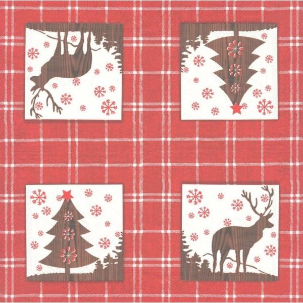4 Serviettes en papier Sapin Noël Cerf Format Lunch Decoupage Decopatch L-485010 IHR - Photo n°2