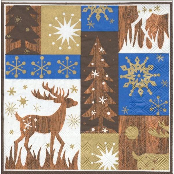 4 Serviettes en papier Décor Noël Cerf Format Lunch Decoupage Decopatch S2777A Stewo - Photo n°1