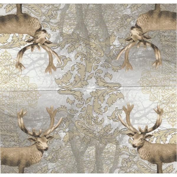 4 Serviettes en papier Décor Cerf Format Lunch Decoupage Decopatch 20923 Paper+Design - Photo n°1