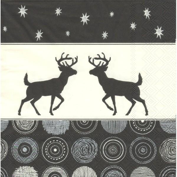 4 Serviettes en papier Décor Noël Cerfs Format Lunch Decoupage Decopatch 33302697 Ambiente - Photo n°1