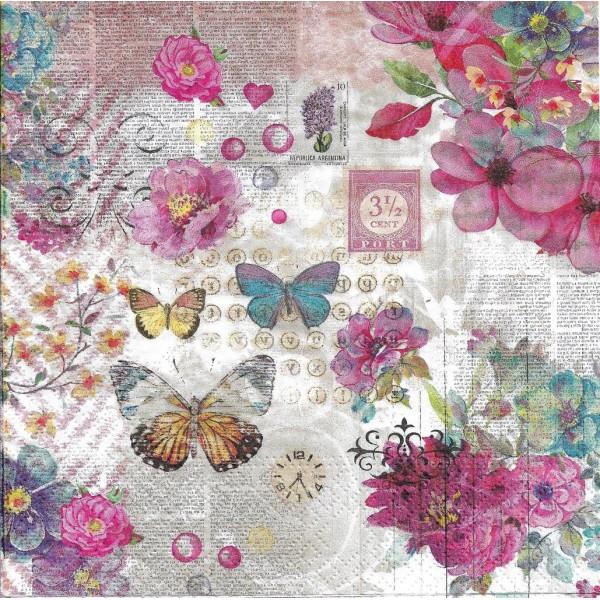 4 Serviettes en papier Fleurs Papillons Vintage Format Lunch PT-87559 Papstar Decoupage Decopatch - Photo n°2