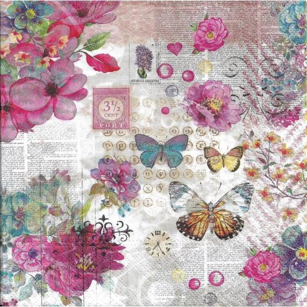 4 Serviettes en papier Fleurs Papillons Vintage Format Lunch PT-87559 Papstar Decoupage Decopatch - Photo n°1