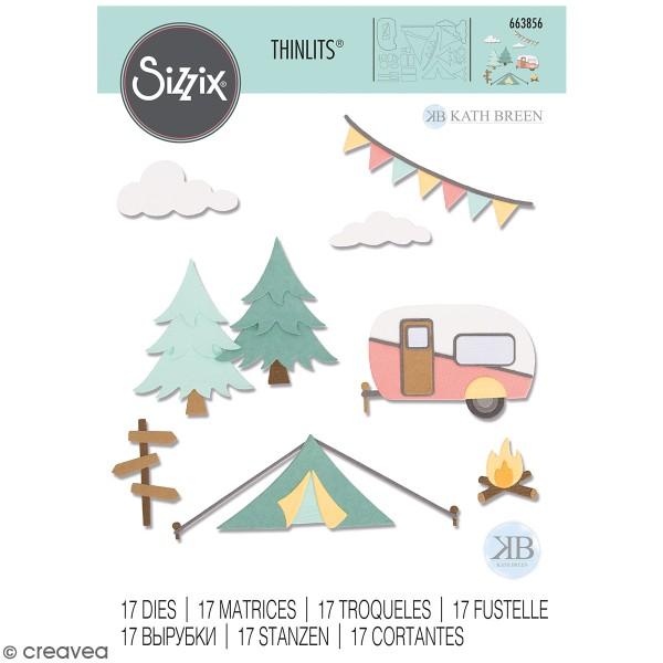 Set de matrices Sizzix Thinlits - Camping - 17 Pcs - Photo n°1