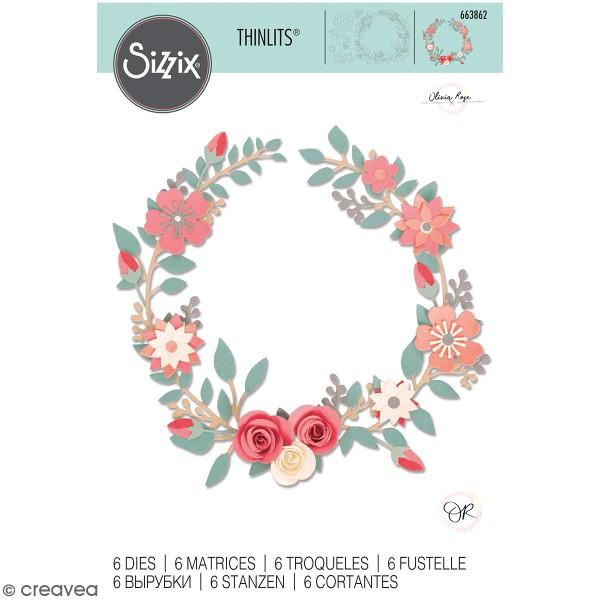 Set de matrices Sizzix Thinlits - Couronne fleurs et roses - 6 Pcs - Photo n°1