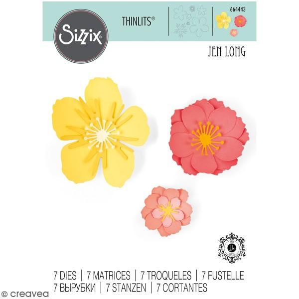 Set de matrices Sizzix Thinlits - Fleurs 3D - 7 Pcs - Photo n°1