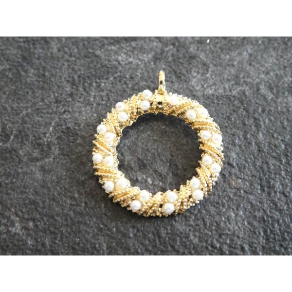 Breloque ronde torsadées avec perles blanches - 28*24mm - doré - Photo n°1