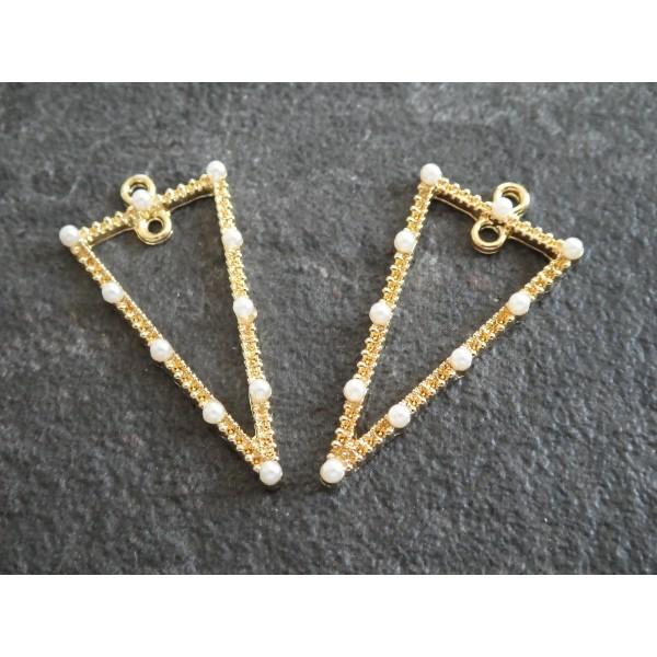 2 Pendentifs géométriques triangle avec perles blanches - 36*18mm - doré - Photo n°1