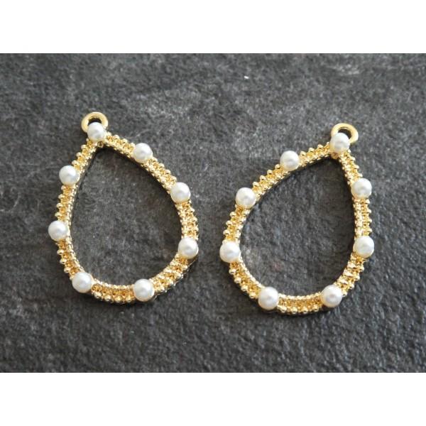 2 Pendentifs goutte avec perles blanches - 34*22mm - doré - Photo n°1