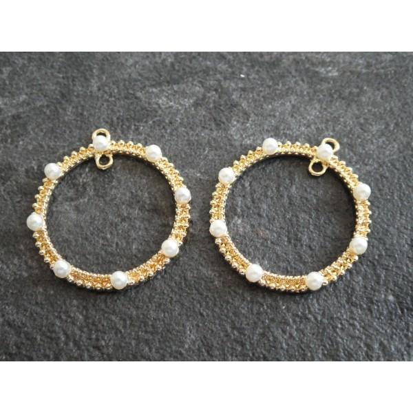 2 Pendentifs / breloques rond avec perles blanches - 2 boucles - 33*30mm - doré - Photo n°1