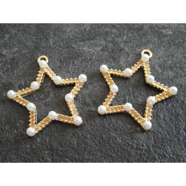 2 Pendentifs / breloques Etoile avec perles blanches - 32*30mm - doré - Photo n°1