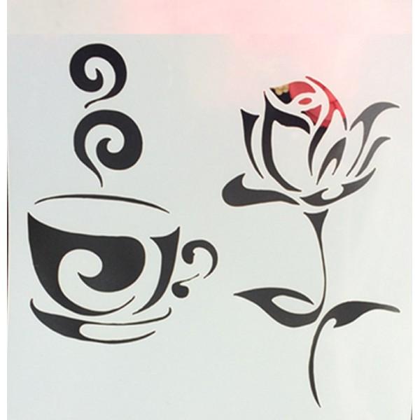 POCHOIR PLASTIQUE 13*13cm : tasse café et rose - Photo n°1