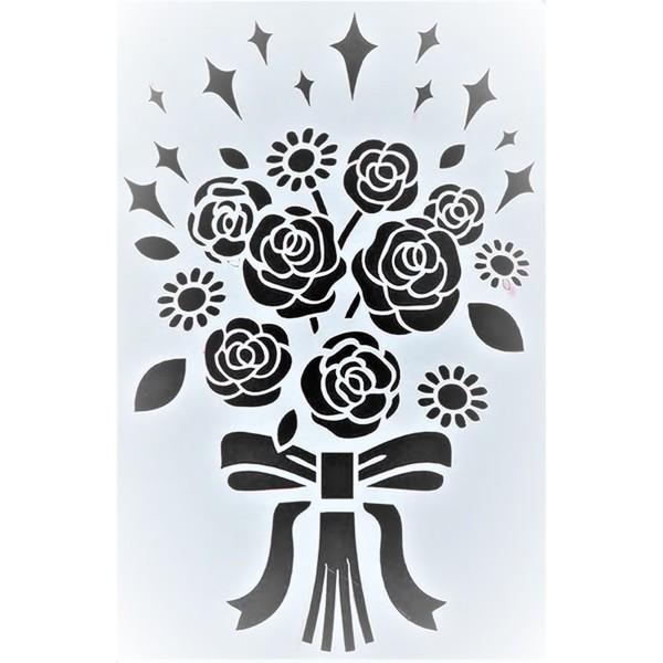 POCHOIR PLASTIQUE 25*17cm : bouquet fleur - Photo n°1