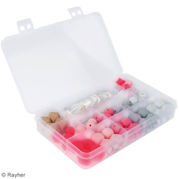 Assortiment de perles en silicone et bois - Rose - 61 pcs - Photo n°2