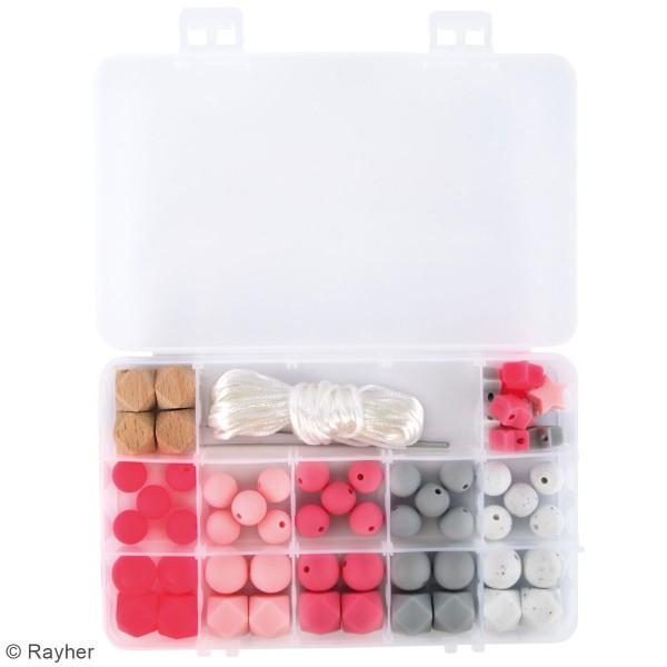 Assortiment de perles en silicone et bois - Rose - 61 pcs - Photo n°3