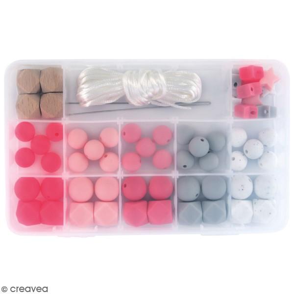 Assortiment de perles en silicone et bois - Rose - 61 pcs - Photo n°1