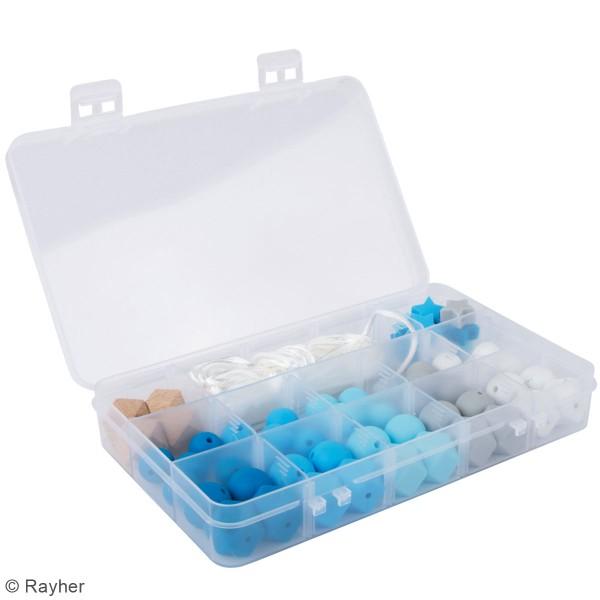 Assortiment de perles en silicone et bois - Bleu clair - 61 pcs - Photo n°2
